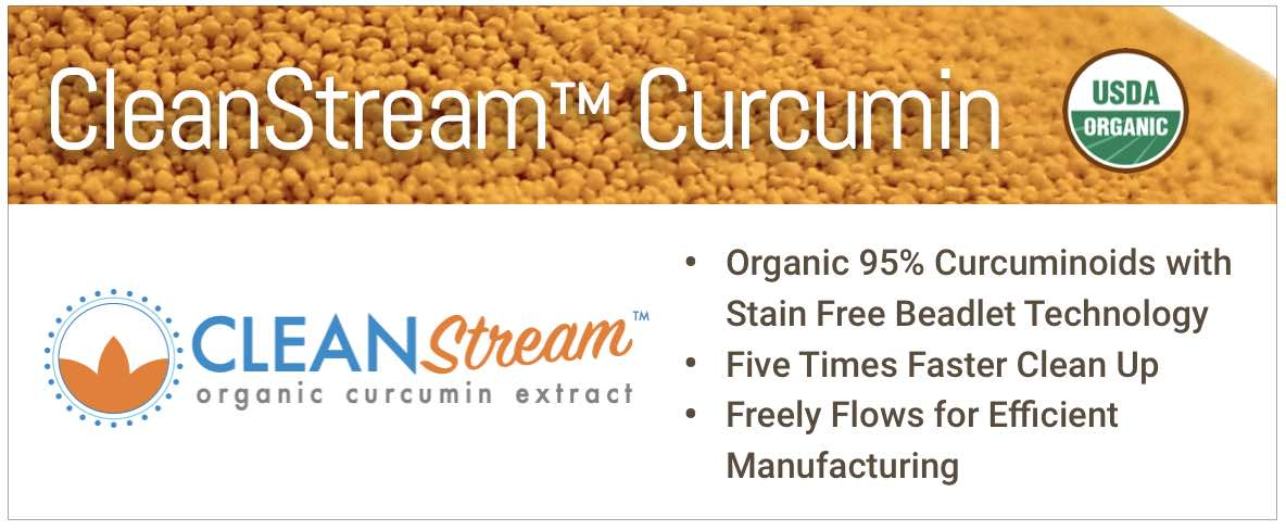CleanStream organic curcumin for stain free manufacturing of turmeric products