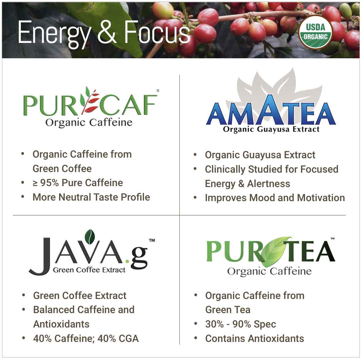 Clean Energy Ingredients Organic Caffeine Natural Green Coffee Guayusa and Green Tea