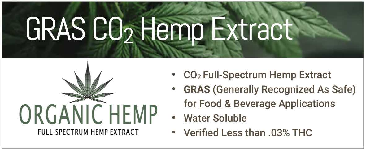 CO2 Full Spectrum Hemp Extract GRAS for food and beverages less than .03% THC water soluble